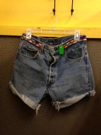 Uniquely beaded high waist Levi's 501 shorts